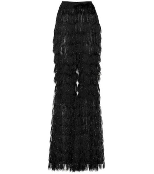 Balmain Fringed metallic pants in black