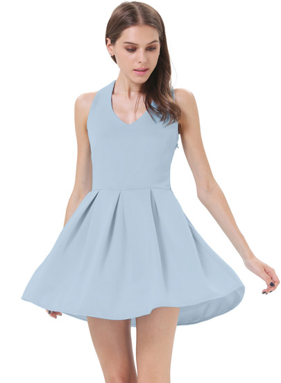 Blue Criss Cross Backless Bow Pleated Dress