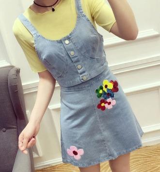 skirt embroidered denim skirt mini skirt denim skirt blue skirt embroidered embroidered skirt top blue top denim top crop tops yellow top