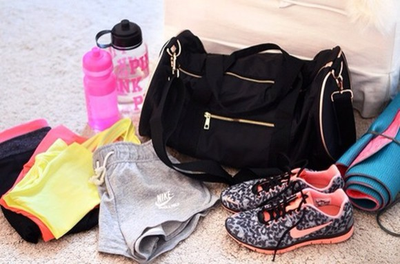 bag black bag gym bag duffle bag black and gold shorts nike shoes training nike nike running shoes nike sneakers running shoes pink fitness