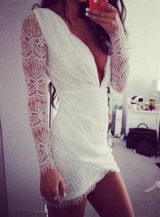 dress white dress lace dress v neck dress romantic summer dress romantic dress