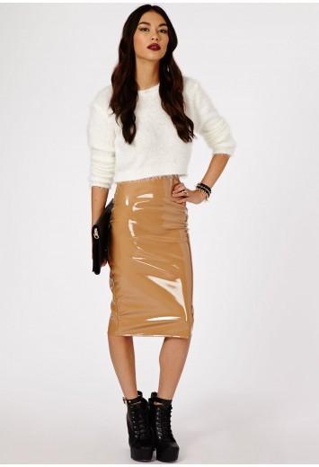 Missguided - Mircia PVC Midi Skirt In Mocha