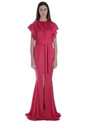 dress,ruffle,ruffle dress,maxi dress,fishtail,summer dress,elegant,party dress,front split