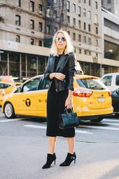 damsel in dior,blogger,bag,jacket,aviator sunglasses,leather jacket,black,ankle boots