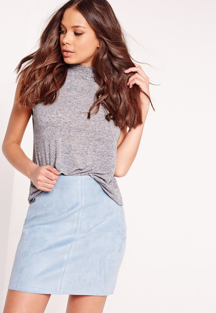 Skirt: suede skirt, blue, light blue, blue suede skirt - Wheretoget
