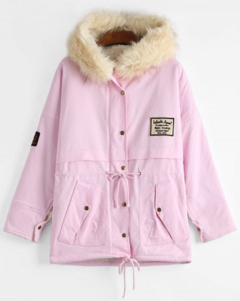 coat girly pink fur fur coat fur jacket parka