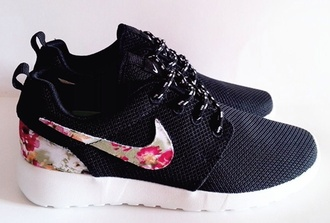 shoes black shoes floral nike shoes