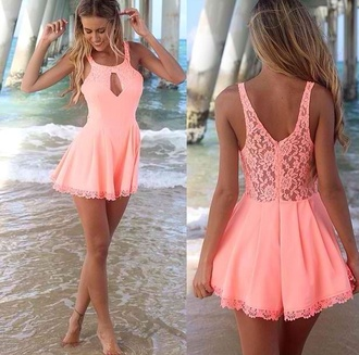 romper coral short dress summer dress cut-out dress lace dress