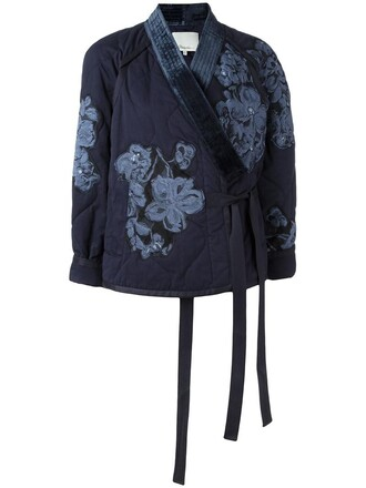 jacket kimono jacket women cotton blue