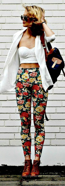 coat blouse pants shoes floral hipster summer outfits tank top top bustier white floral pants bag roses printed pants jeans floral jeans skinny pants long pants