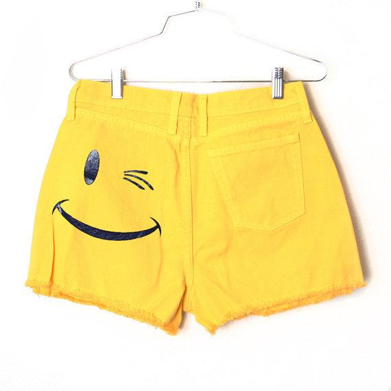 Smile Frayed Denim Shorts by BurgerAndFriends on Etsy