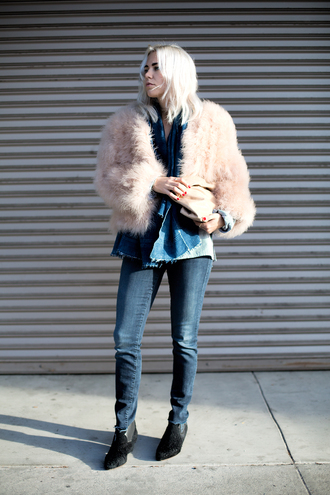 always judging blogger scarf jeans bag denim fluffy fur coat jacket beige fur jacket