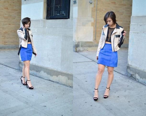 skirt blue suede skirt blue skirt suede skirt mini skirt top crop tops black crop top mesh top sandals black sandals jacket nude jacket