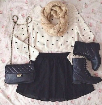 sweater black crop tops cropped sweater polka dots knitted sweater knitwear knitted scarf scarf beige beige scarf white sweater white crop tops style silk chiffon skirt black skirt leather bag boots black boots biker boots earphones coat skirt shoes bag
