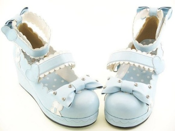 shoes blue bows baby blue hearts platform shoes mary jane
