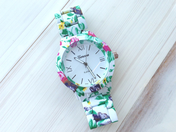 jewels watch geneva flowers floral garden beautiful pink green white wrist