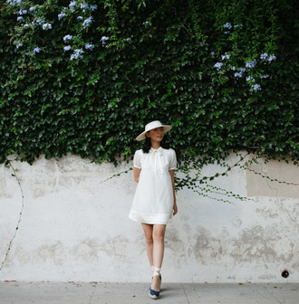 honey n silk blogger dress hat shoes mini dress short dress summer dress summer outfits white hat espadrilles wedge sandals wedges short sleeve dress