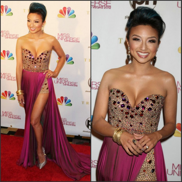 Aliexpress.com : Buy Jeannie Mai Miss Universe Sparkly Pageant Dress Short Skirt Long Slit Crystal Beaded Celebrity Prom Dress 2014 Free Shipping from Reliable dress shoes flat feet suppliers on 27 Dress