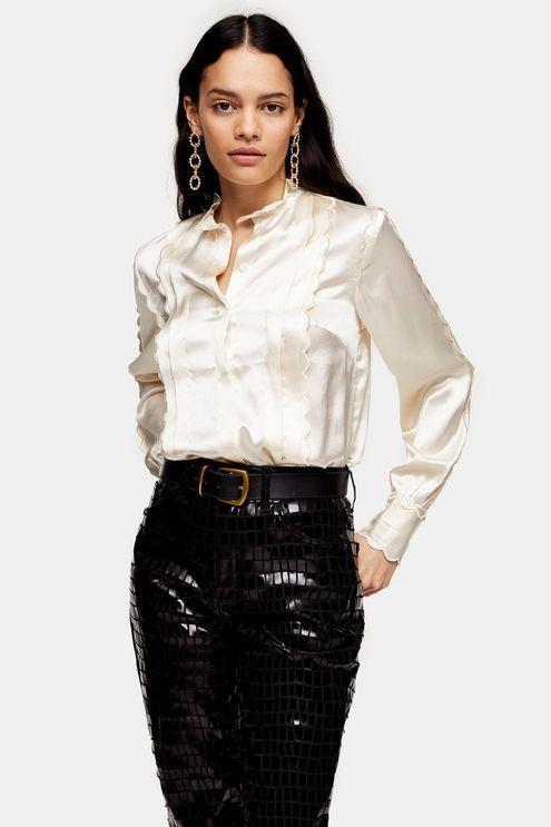 Ecru Scallop Satin Shirt - Off White