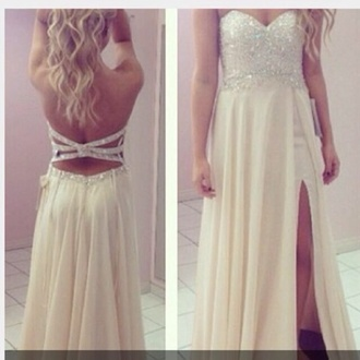 dress white prom dress white dress chiffon open back open back dresses sequins prom bedazzled long dress prom gown