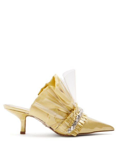 PACIOTTI BY MIDNIGHT heel embellished mules light yellow shoes