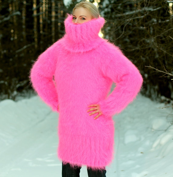 Hand knitted mohair sweater dress in neon pink color by supertanya