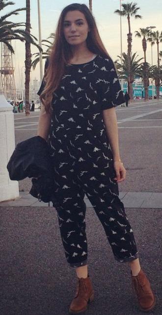 cute print black romper jumpsuit shirt boots pretty street cutiepiemarzia long tight pants summer