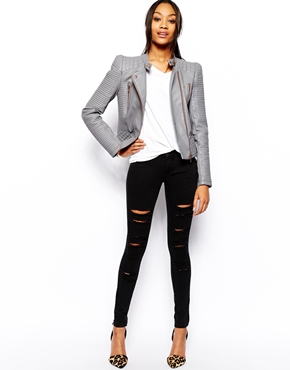 ASOS | ASOS Leather Look Structured Sleeve Jacket at ASOS