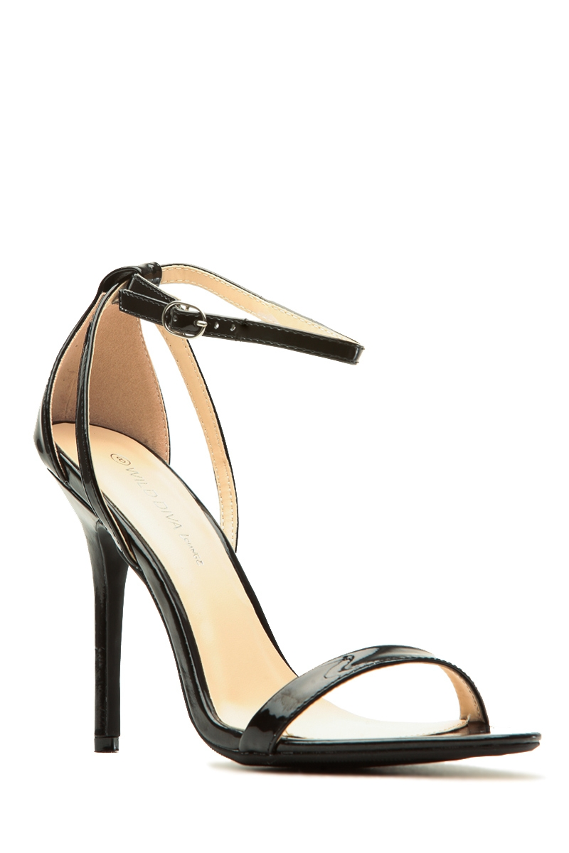 f18188a8445 Black Faux Patent Leather Ankle Strap Single Sole Heels @ Cicihot Heel  Shoes online store sales:Stiletto Heel Shoes,High Heel Pumps,Womens High  Heel ...
