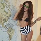 swimwear,swimsuit 2014,high waisted bikini,high waisted,black bikini,stripes,sunglasses,sunnies,chill,casuals,fashionista,women,bikini bottoms,bikini top,summer outfits,beach,summer,hipster,style,stylish,trendy,instagram,pretty,bikini,black