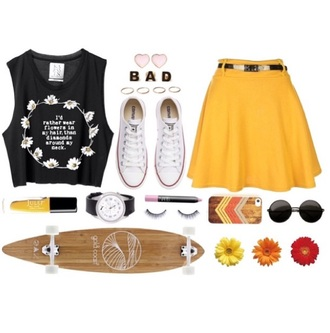 tank top flower hair clips heart jewelry arrow phonecase daisy muscle shirt stacking rings yellow skirt round sunglasses