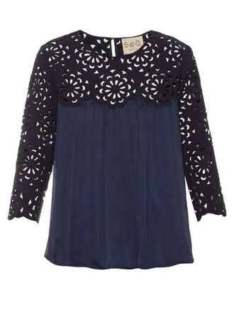 blouse chiffon blouse chiffon lace floral silk navy top