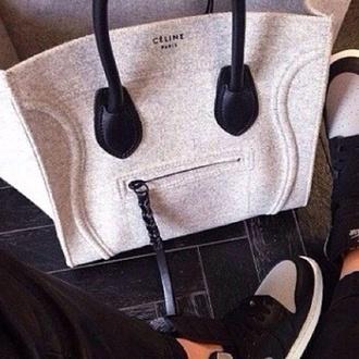 bag handbag celine celine grey felt musthave