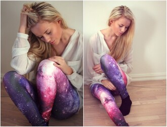 pants cosmic galaxy print blouse