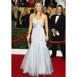 Kaley Cuoco Silver Strapless Formal Prom Dress 2014 Screen Actors Guild Awards Red Carpet