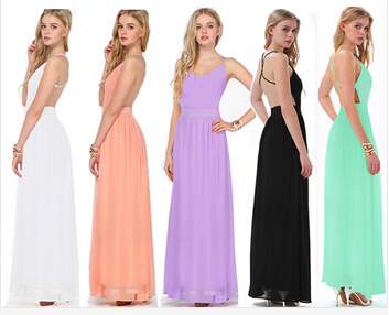 New Women Pink/Green/White/Black/Purple Spaghetti Straps V neck Maxi Length Evening Party Backless Chiffon Dress LQ9290-in Dresses from Apparel & Accessories on Aliexpress.com
