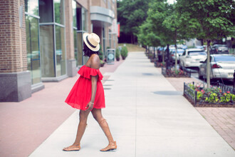 millennielle blogger hat gladiators off the shoulder dress chiffon dress