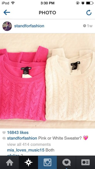 sweater pink and white