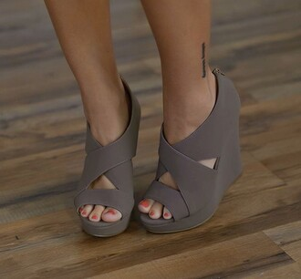 shoes high heels chunky sole style summer shoes high heel sandals sandels wedge heels open toes cute shoes nude sandals women women's fashions dress shoes wedge sandals grey grey wedges black wedges sandals wedges gray wedges cross strap gray suede sandals suede shoes cute madison wedge emmie wedge suede taupe heels tan