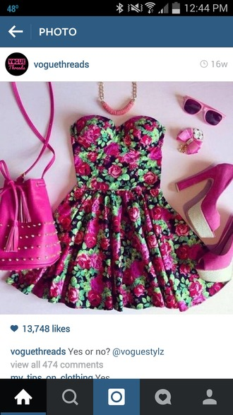 dress floral dress roses