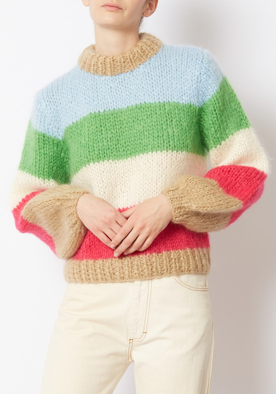 Ganni Striped Julliard Mohair Sweater