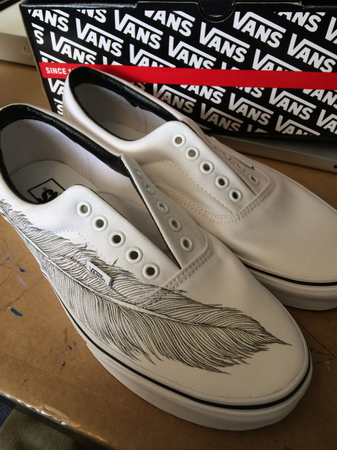 f8ee37ee027f Hand Painted Native Eagle Feather on White Vans Era shoes