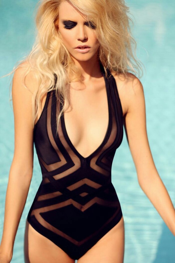 swimwear swimwear one piece black swimwear cut-out mesh