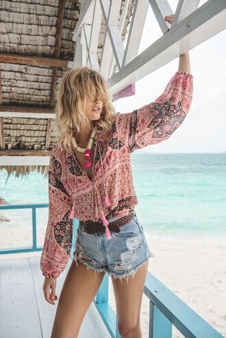 blouse paisley pink top printed blouse statement necklace beach western belt boho jewelry distressed denim shorts denim shorts summer outfits