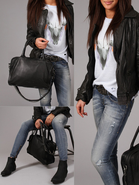jacket leather jacket black biker jacket bag shirt shoes belt