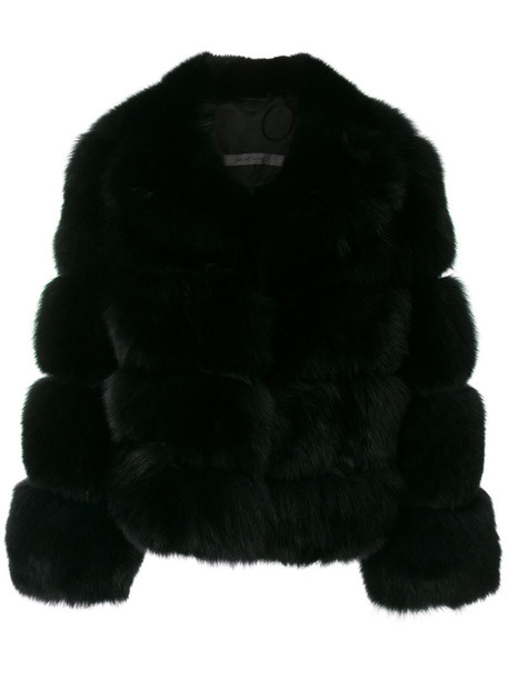 SIMONETTA RAVIZZA jacket fur fox women black silk