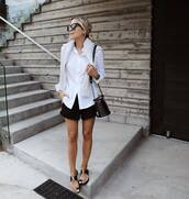 shorts,black shorts,white shirt,flat sandals,bag,sunglasses