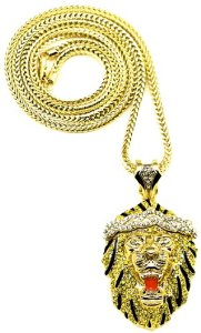 Amazon.com: lion necklace new iced out in silver and yellow color crystal rhinestones pendant necklace 36 inch gold color franco style chain big sean: jewelry