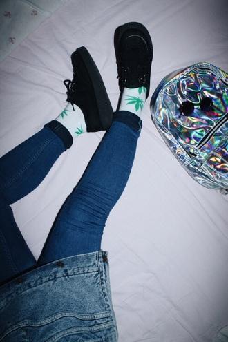 bag hologram holographic grunge pale earphones jeans