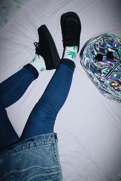 bag holographic holographic grunge pale earphones jeans